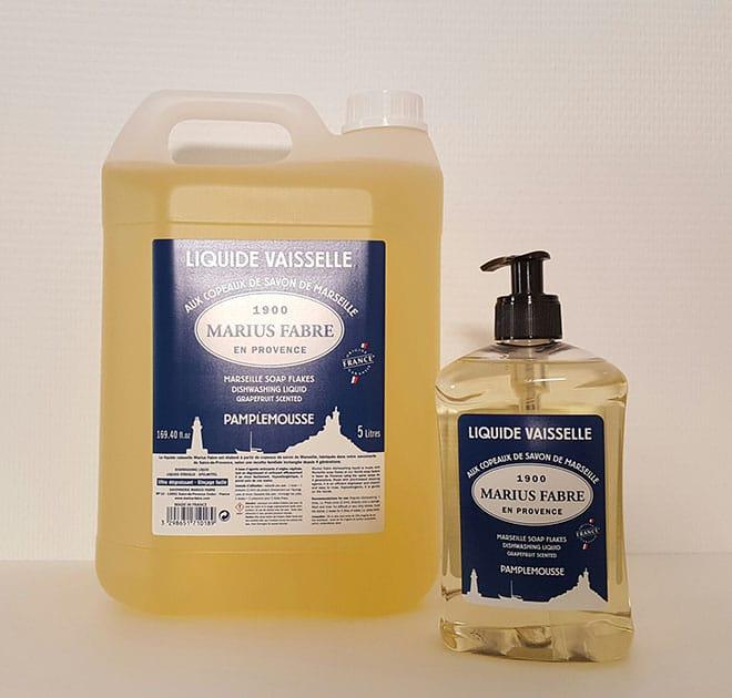 Liquide vaisselle aux copeaux de savon de Marseille en pompe 500ml et recharge 5L – Pamplemousse
