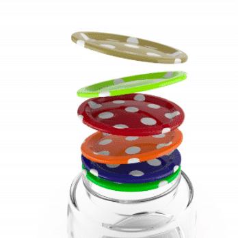 12 Deckeln für Glas MASON (Gepunktetes Muster)