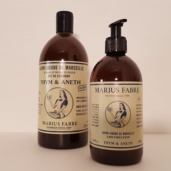 Essential oil liquid Marseilles soap, thyme and dill fragrance 500ml + 1L