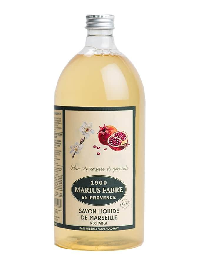 Savon liquide de Marseille, Fleur de cerisier et grenade 1L – Marius Fabre (Gamme Herbier)